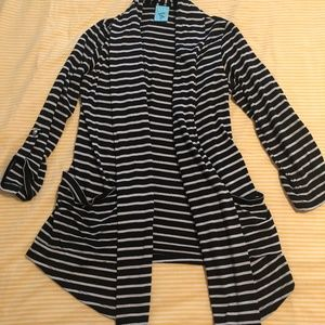 Sweaters - Black & white striped open cardigan with pockets